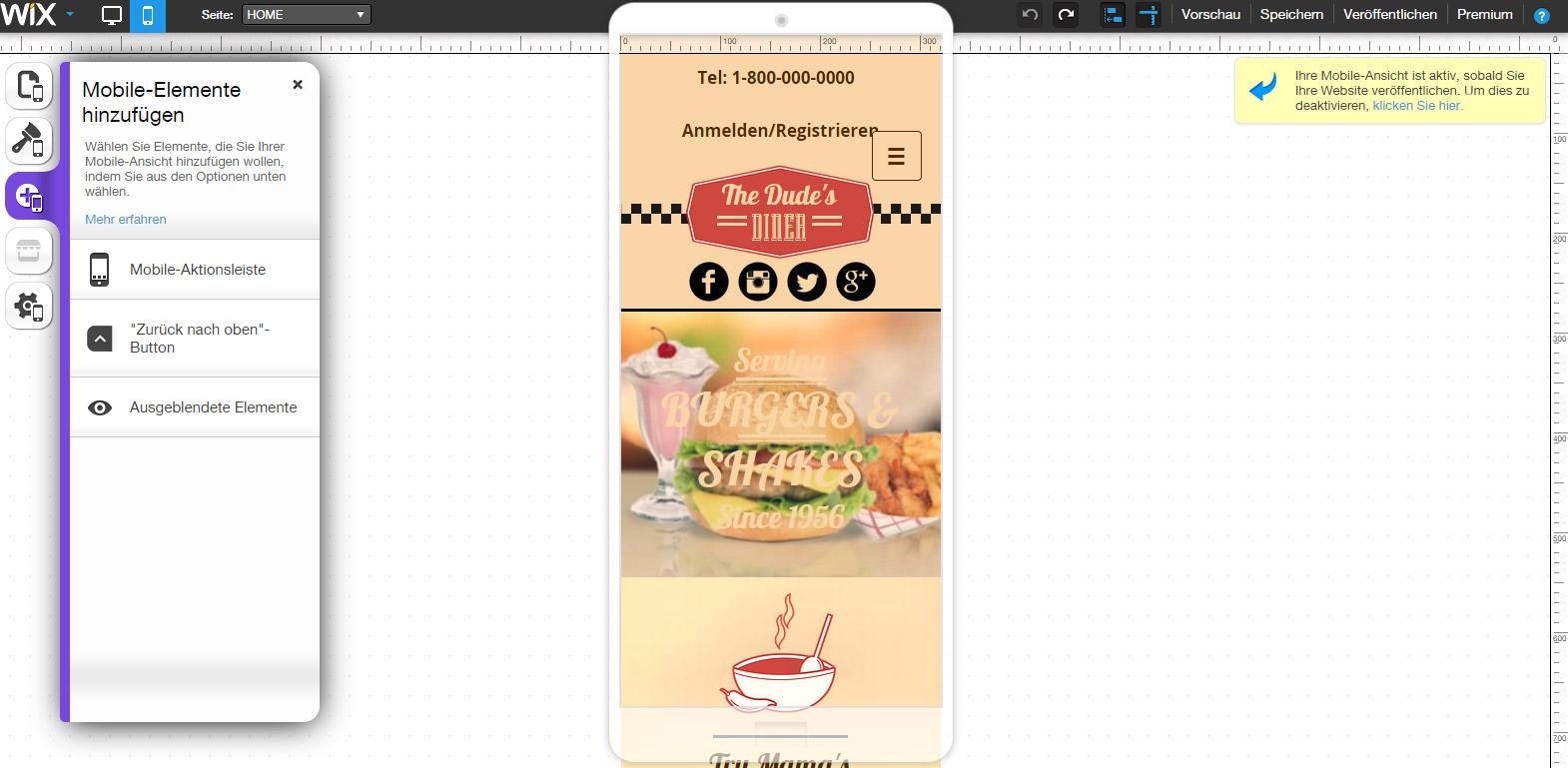Wix Mobile Seite